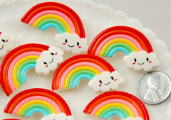 40mm Cute Smiling Rainbow with Kawaii Smiley Face Cloud Flatback Resin Cabochons - 6 pc set