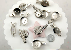 40mm Useful Combo Clips, Blank Brooch Pinback with Alligator Hair Clip, silver plated - 8 pc set