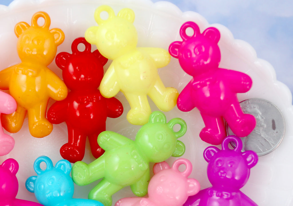 B-Grade - 40mm Huge Chunky Candy Bears Acrylic or Plastic Charms - 20 pc set