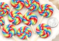 45mm Super Bright Rainbow Swirl Fimo Lollipop Flatback Polymer Clay or Resin Cabochons - 5 pc set