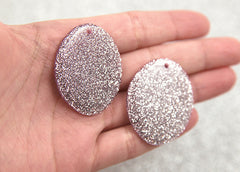 40mm Lilac Glitter Resin Oval Pendants or Charms – 6 pc set