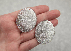 40mm Silver Glitter Resin Oval Pendants or Charms – 6 pc set