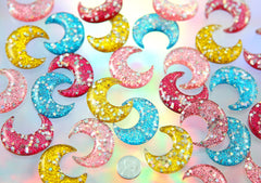 40mm Glitter Moon Resin Cabochons - Chunky Sparkle Crescent Moon Acrylic Flat backs - 5 pc set