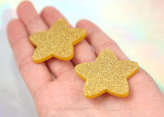 40mm Rounded Gold Holographic Glitter Honey Stars Resin or Acrylic Cabochons - 5 pc set