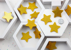 Resin Stars Cabochons - 40mm Gold Holographic Glitter Stars Resin Cabochons - 5 pc set