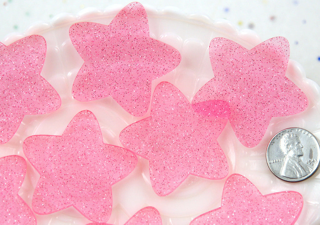 40mm Rounded Pink Translucent Glitter Honey Stars Flatback Resin or Acrylic Cabochons - 5 pc set