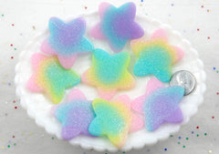 Pastel Star Cabochons - 40mm Pastel Shimmer Rainbow Star Resin Flat back Cabochons - 6 pc set