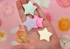 40mm Big Pastel Glitter Star Dust Confetti Acrylic or Resin Flatback Cabochons - 6 pc set