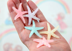 Mermaid Cabochons - 40mm Pastel Starfish Resin Cabochons - 8 pc set