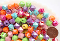 Cube Beads - 10mm Bright Color Faceted AB Cube Acrylic Square Transparent Plastic Beads - 100 pc set