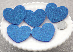 45mm Blue Glitter Heart Acrylic or Resin Cabochons - 4 pc set