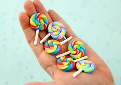 Lollipop Cabochons - 42mm Rainbow Swirl Mix Fimo Lollipops Flatback Polymer Clay or Resin Cabochons - 6 pc set