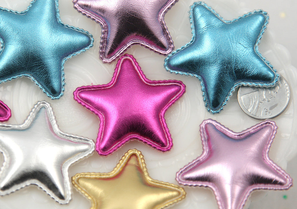 42mm Small Metallic Puffy Shiny Stars Soft Fabric Decorations Appliques or Patches - 5 pc set
