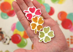 43mm Big Colorful Clover Leaf Resin Lucky Charm or Pendant - 5 pc set