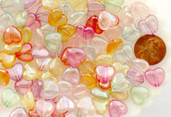 Heart Beads - 11mm AB Transparent Iridescent Puffy Heart Acrylic or Resin Beads - 100 pcs set