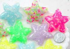 Star Flatbacks - 44mm Large Neon Confetti Stars Resin Flatback Cabochons - 6 pc set