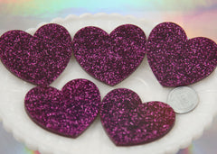 45mm Deep Fuchsia Pink Glitter Heart Cabochons - 4 pc set