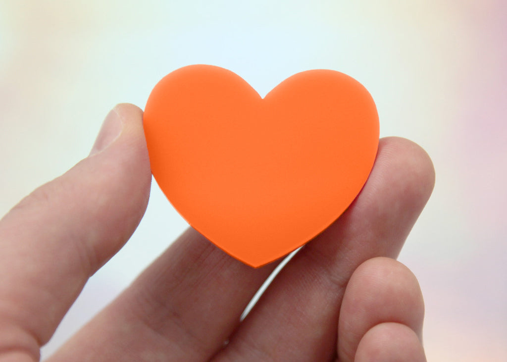 45mm Orange Solid Color Heart Cabochons - 4 pc set