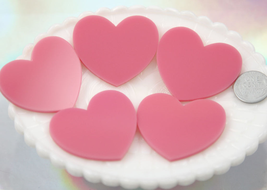 45mm Bubblegum Pink Solid Color Heart Cabochons - 4 pc set