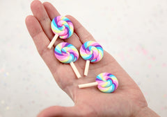 Lollipop Cabochons - 45mm Small Pastel Rainbow Swirl Lollipop with Deep Purple Flatback Clay or Resin Cabochons - 6 pc set