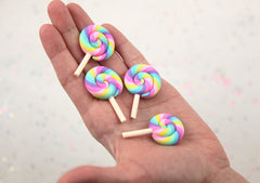 45mm Small Pastel Rainbow Swirl Lollipop Flatback Clay or Resin Cabochons - 5 pc set