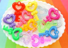 45mm Heart Shaped Key Plastic Resin Cabochons Charms or Pendants - 8 pc set