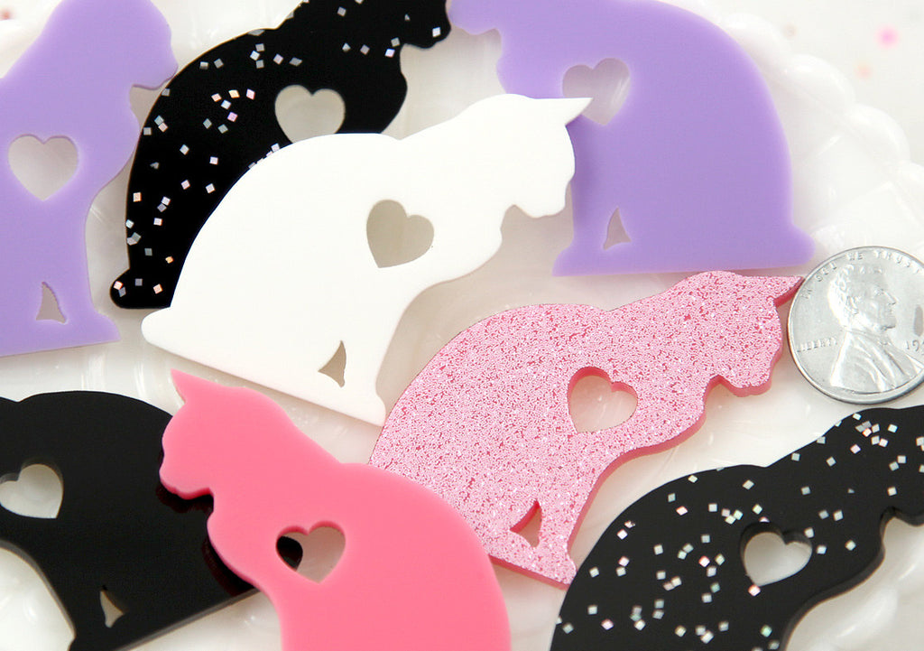 45mm Love Cat Silhouette Profile Kitty with Heart Mixed Colors Acrylic or Resin Cabochons - Glitter Pink + Black, White, Purple - 4 pc set
