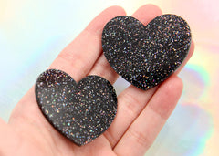 45mm Deep Black Glitter Heart Acrylic or Resin Cabochons - 4 pc set