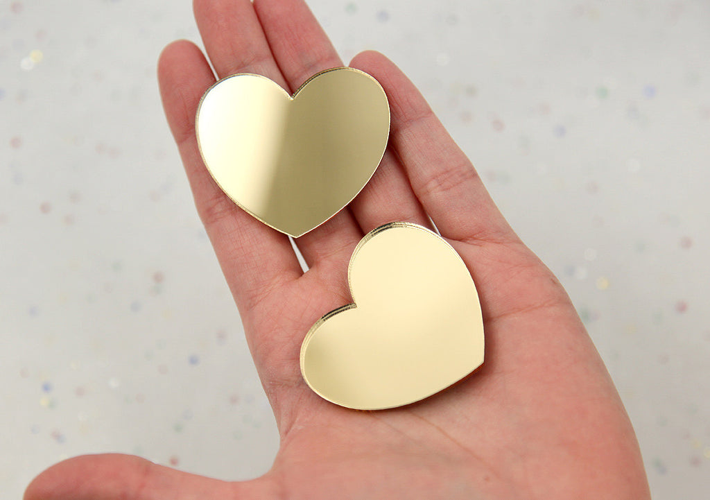 45mm Gold Mirror Heart Resin or Acrylic Cabochons - 4 pc set