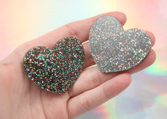 45mm Rainbow Multi Glitter Heart Acrylic or Resin Cabochons - 4 pc set