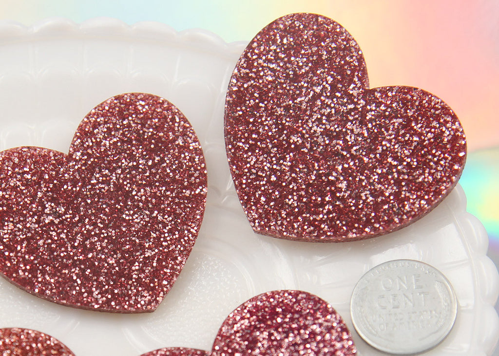 45mm Lovely Pink Glitter Heart Acrylic or Resin Cabochons - 4 pc set