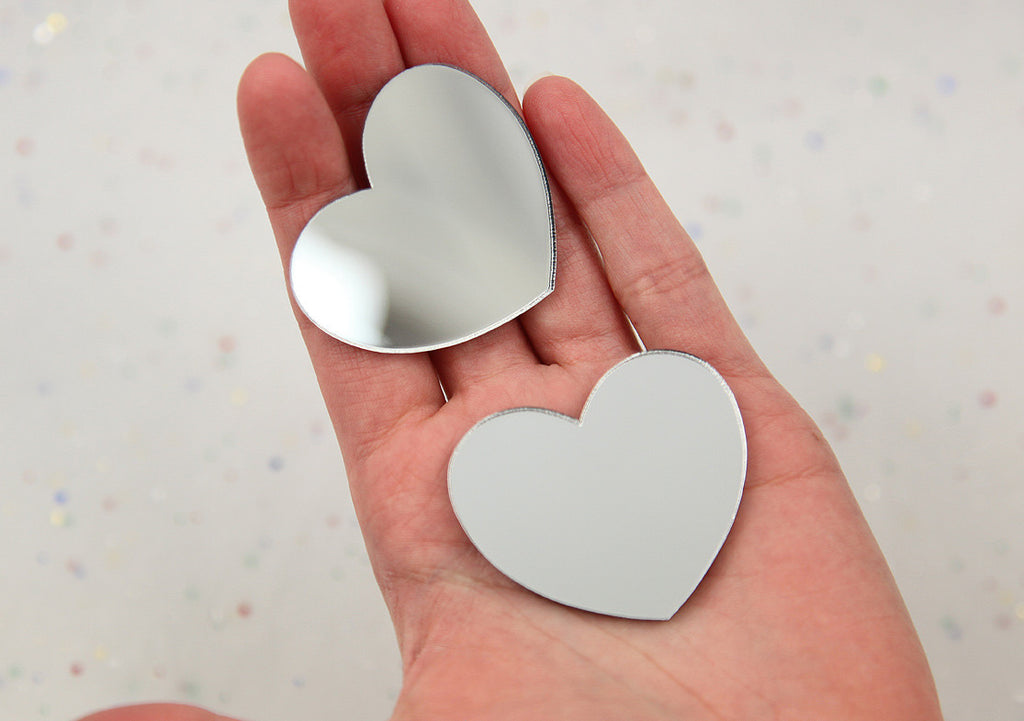 45mm Silver Mirror Heart Resin or Acrylic Cabochons - 4 pc set