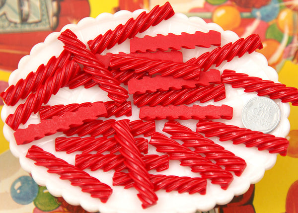 46mm Red Licorice Stick Candy Flatback Resin Cabochons 6