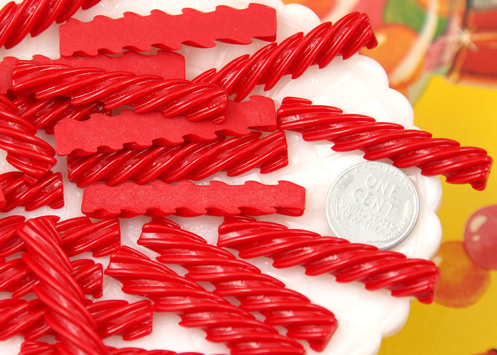 46mm Red Licorice Stick Candy Flatback Resin Cabochons - 6 pc set