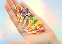 46mm Tiny Anime Girls Miniatures - Super Kawaii Little Shoujo Figurines Resin or Plastic Cabochons - Great for Decoden - 6 pc set