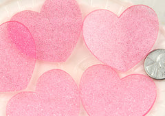 45mm Translucent Pink Glitter Heart Acrylic or Resin Cabochons - 4 pc set