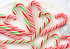 Fake Candy Canes - 47mm Super Cute Candy Cane Faux Candy Cabochons, Christmas Colors Set - 4 pc set