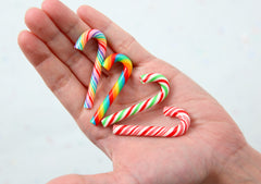 Fake Candy Canes - 47mm Super Cute Candy Cane Faux Candy Cabochons, Colorful Set - 4 pc set