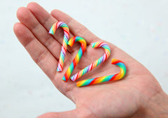 Fake Candy Canes - 47mm Super Cute Candy Cane Faux Candy Cabochons, Rainbow Colors Set - 4 pc set