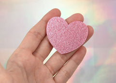 45mm Light Pink Glitter Heart Acrylic or Resin Cabochons - 4 pc set