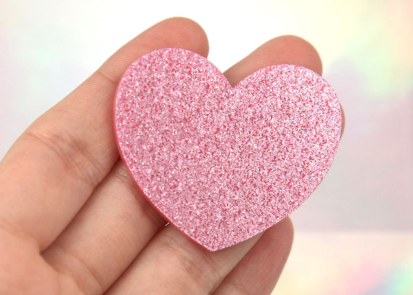 45mm Light Pink Glitter Heart Acrylic or Resin Cabochons ...