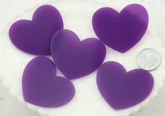 45mm Deep Purple Translucent Heart Resin or Acrylic Flatback Cabochons - 4 pc set