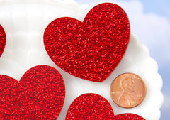 45mm Red Glitter Heart Acrylic or Resin Flatback Cabochons - 4 pc set