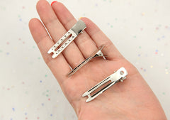47mm Double Prong Super Grip Alligator Hair Clips, silver plated - 20 pc set