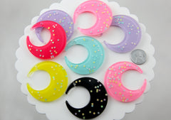 49mm Glitter Moon Resin Cabochon or Pendant - Huge Pastel Sparkle Resin or Acrylic Charm - 6 pc set
