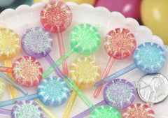 19mm Pastel Glitter Swirl Little Lollipop Resin or Plastic Charms or Pendants - 8 pc set