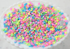 Fake Sprinkles - 48 grams 4mm Heart Shaped Pastel Fake Sprinkles Colorful Flakes Polymer Clay or Fimo Cabochons - 48 g bag