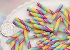 25mm Rainbow Swirl Marshmallow Clay Twist Sticks Resin or Fimo Cabochons - 9 pc set