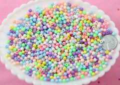 Spacer Beads - 4mm Super Tiny Pastel Plastic or Acrylic Beads - Great as Spacer Beads - 1000 pc set
