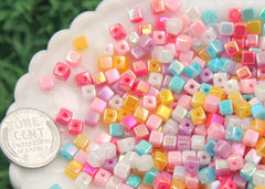 4mm Super Tiny Iridescent Pastel AB Mix Square Cube Acrylic or Resin Beads - 200 pc set